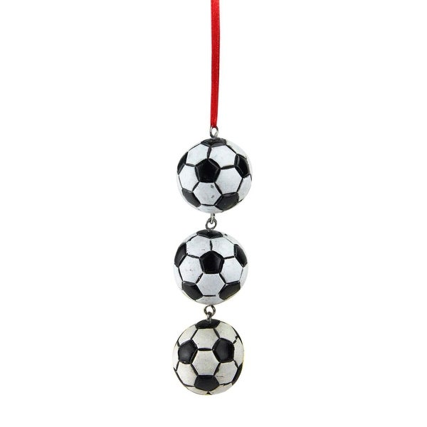 "4.25"" Trio of Soccer Balls Drop Sports Themed Christmas Ornament"