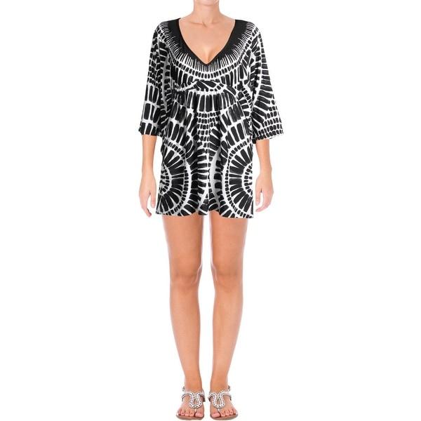 378b6ebfc3 Trina Turk Womens Algiers Printed Kimono Sleeves Dress Swim Cover-Up