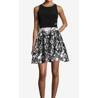Xscape Black White Women's Size 8 Printed Fit N Flare A-Line Dress