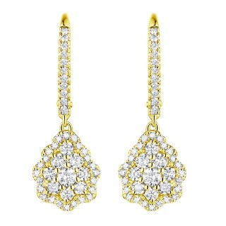 Prism Jewel 0.94Ct G-H/SI1 Natural Diamond Inspired Drop Leverback Earring - White G-H
