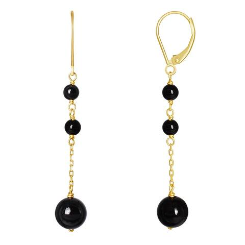 14K Black Onyx Dangle Leverback Earring