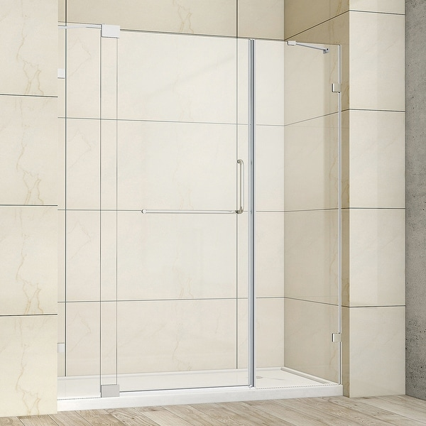 """Milano 66"""" W x 72"""" H Hinged Frameless Tub Door in Polished Chrome - 66"""" W x 72"""" H. Opens flyout."""