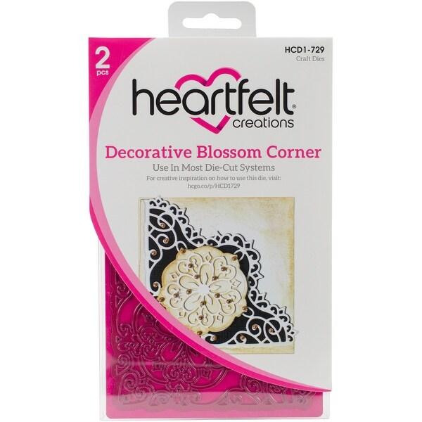 "Heartfelt Creations Cut & Emboss Dies-Blossom Corner, 3.75"" To 4.25"""