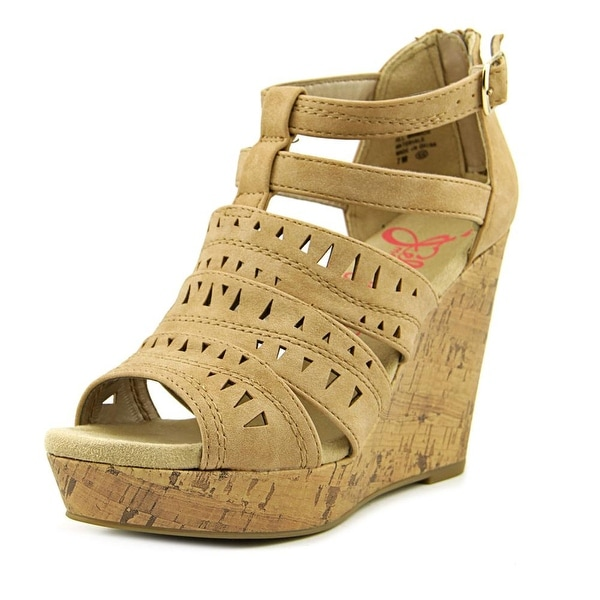 Jellypop Deedee Women Open Toe Synthetic Tan Wedge Sandal
