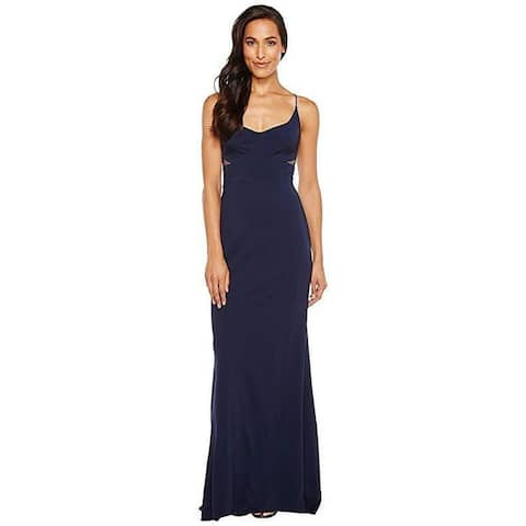 Adrianna Papell Women's Jersey Modified Mermaid Gown Midnight SZ 16