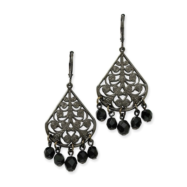 Black IP Faceted Jet Bead Oval Drop Leverback Earrings