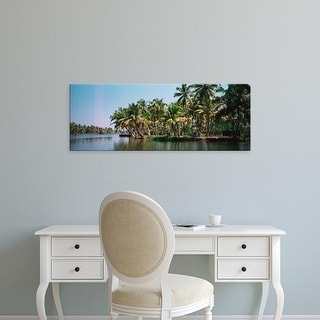 Easy Art Prints Panoramic Images's 'Palm trees along a river, Kerala, India' Premium Canvas Art
