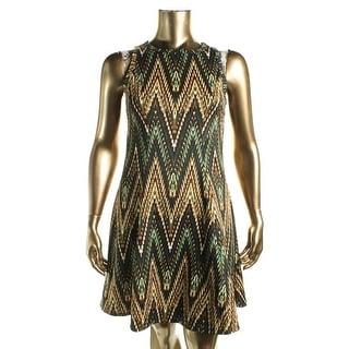 Karen Kane Womens The Woods Casual Dress Zig Zag Sleeveless