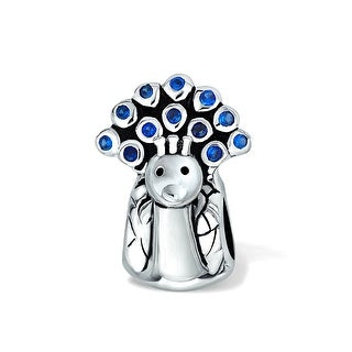 Bling Jewelry 925 Silver Blue CZ Peacock Bead Charms