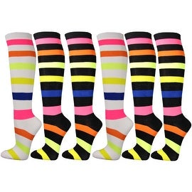 6 Pairs Women Couver Premium Quality Neon Multi-Striped Cotton Knee High Socks
