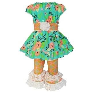 AnnLoren Little Girls Orange Springtime Floral Damask Capri Outfit