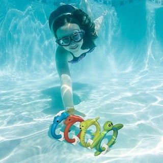 Set of 4 Aqua Fun Animal Rings Multi-colored Swimming Pool Dive Rings 6.5""