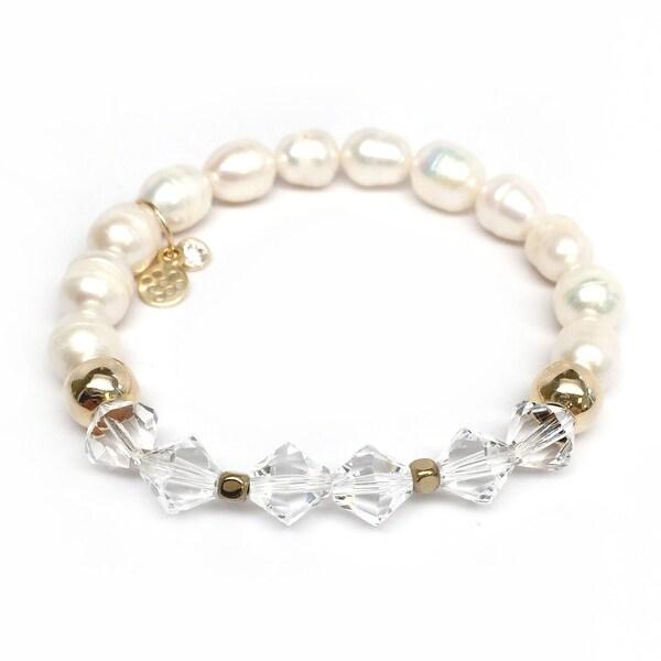 """Freshwater Pearl & Crystal Chloe 7"""" Bracelet"""