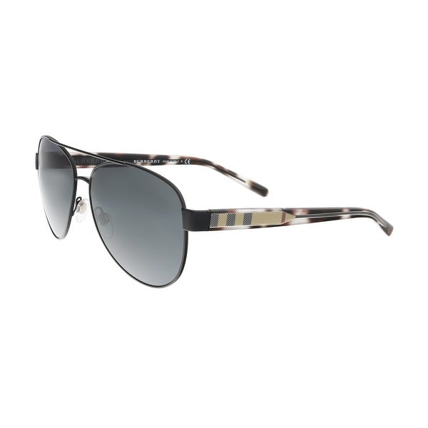 b17bad7bea22 Shop Burberry BE3084 122887 Matte Black Check Aviator Sunglasses ...