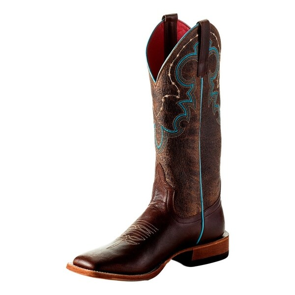 Macie Bean Western Boots Womens Monica Square Tan Weathered Goat