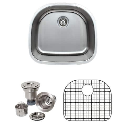 Wells Sinkware Craftsmen Series 24-inch 16-gauge Undermount D-Shape Single Bowl Stainless Steel Kitchen Sink Package