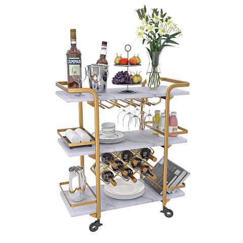 3 Tier bar cart with black wheels