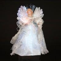 """12"""" Shimmering White and Silver LED Light Fiber Optic Angel Christmas Tree Topper"""