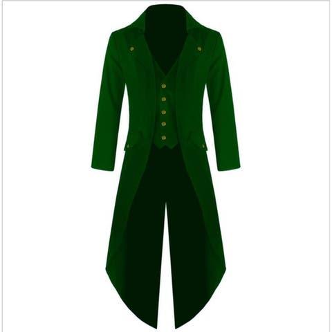 Men's Victorian Steampunk Vintage Asymmetrical Tux Tailcoat Tuxedo - Green - 2XL