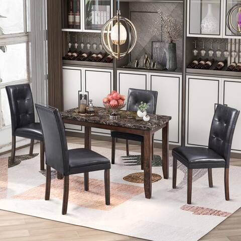 Faux Marble 5-Piece Dining Set Table with 4 Thicken Cushion Dining Chairs Brown/Black
