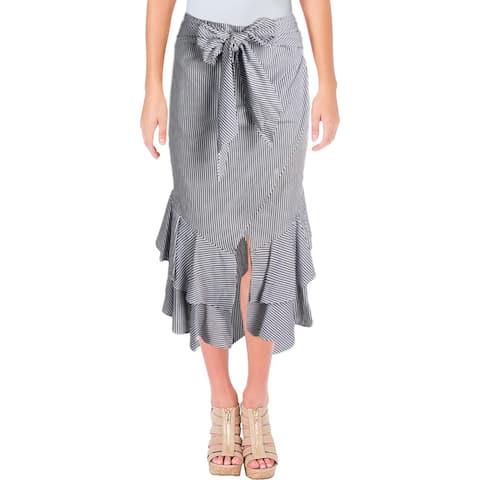 Aqua Womens Asymmetrical Skirt Ruffle Tie Waist
