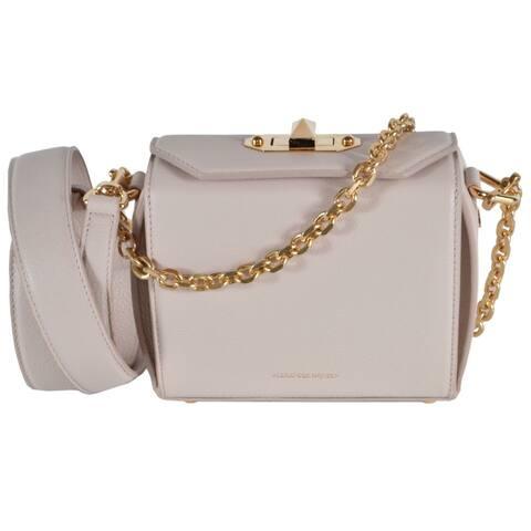 Alexander McQueen 479767 Nude Pink Leather Box 16 Crossbody Purse Bag