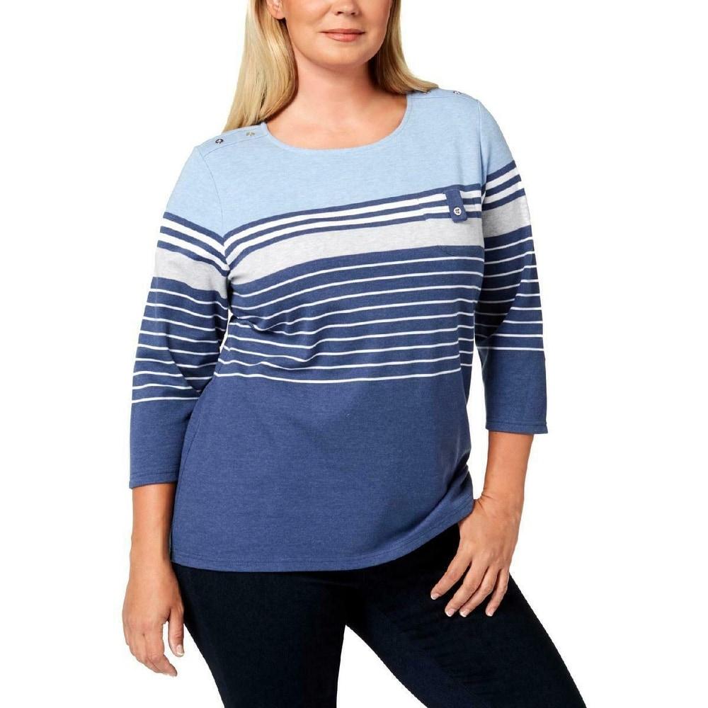 Karen Scott Print Long-Sleeve T-Shirt Pale Grey L