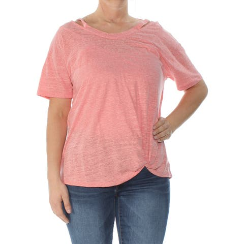 STYLE & CO Womens Coral Cutout 3/4 Sleeve Boat Neck Hi-Lo Top Size L