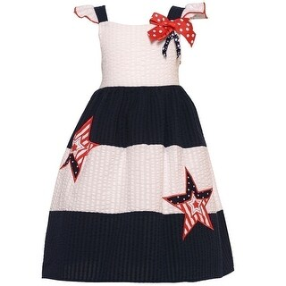 Good Lad Little Girls Navy White Star Applique Bow Patriotic Dress 2T