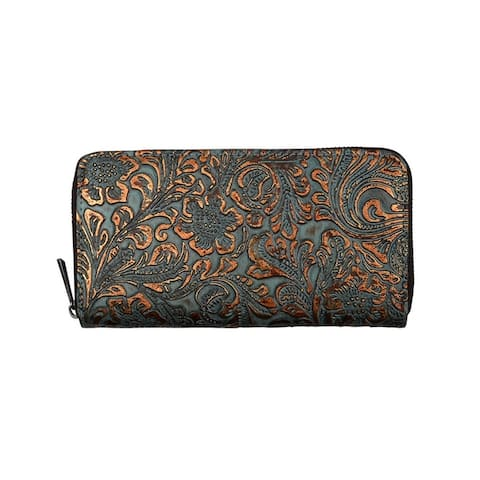 Angel Ranch Western Wallet Womens Wristlet Brown Turquoise - Brown Turquoise - One Size