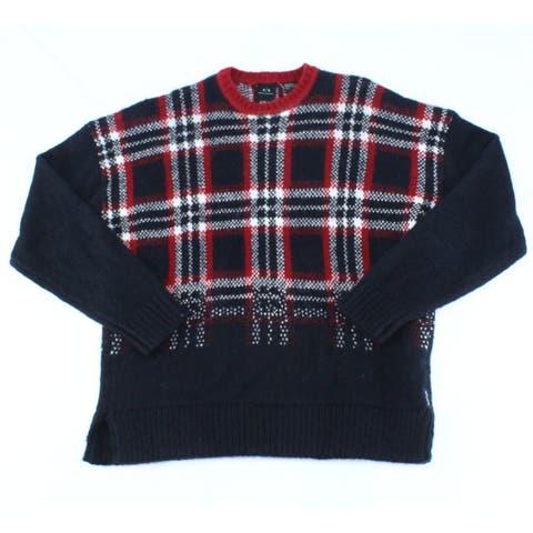 Armani Exchange Mens Sweater Black Size Large L Crewneck Plaid-Print
