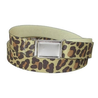 CTM® Kids' Magnetic Buckle Leopard Print Elastic Stretch Belt - Brown - One size