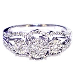 0.3cttw Diamond Wedding Anniversary Ring Three Stone Style Cluster 9mm Wide(0.3cttw)