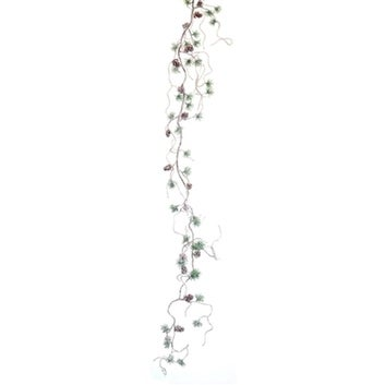 Pack of 8 Frosted Pine Twig Christmas Garlands with Cones - Unlit 3.5'