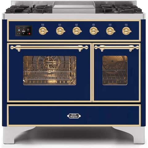 "Ilve UMD10FDNS3MBG 40"" Majestic II Series Dual Fuel Natural Gas Range with 6 Sealed Burners, in Midnight Blue"