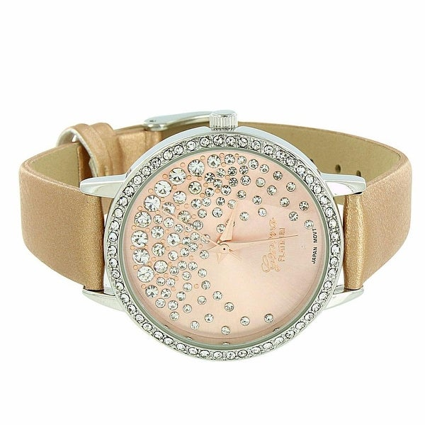 Geneva Women's Watch Gold Leather Band Lab Diamonds Classy Look Analog Display Stainless Steel Back