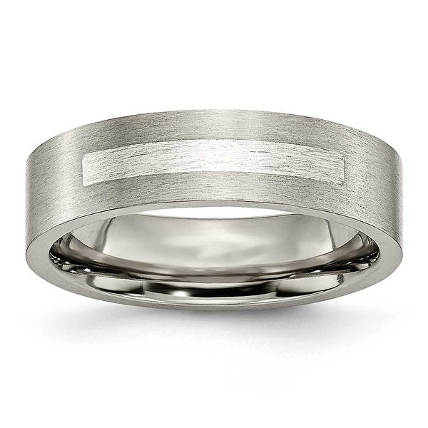 Titanium Flat 6mm Sterling Silver Inlay Brushed Band
