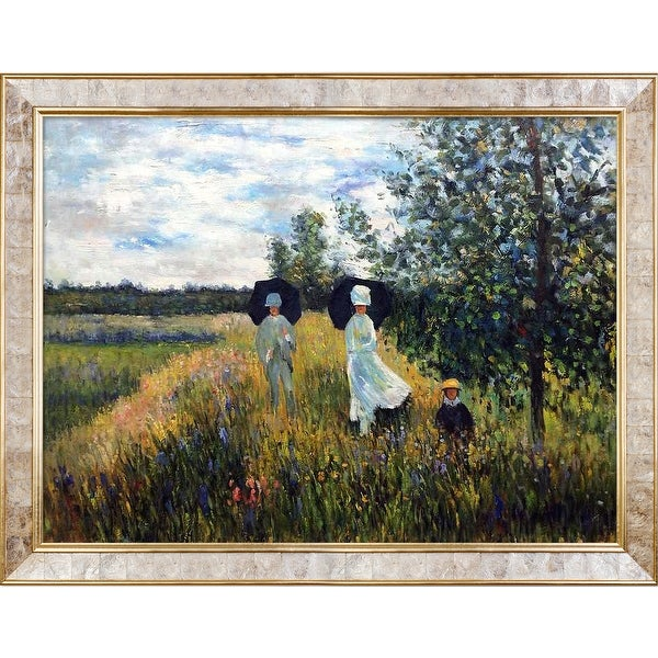 The Promenade Near Argenteuil by Claude Monet Framed Hand Painted Oil on Canvas