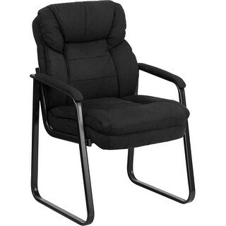Aberdeen Black Microfiber Executive Side Reception/Guest Chair w/Sled Base