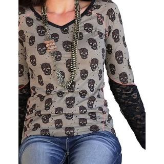 Cruel Girl Western Shirt Womens L/S Skull Lace Olive CTK9772001 - xs