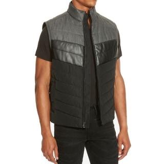 Kenneth Cole Reaction NEW Black Grey Mens Large L Puffer Vest Jacket