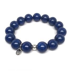 Blue Jade 'Classic Stone' stretch bracelet Sterling Silver