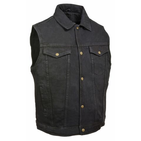 Mens Denim Shirt Collar Snap Front Vest