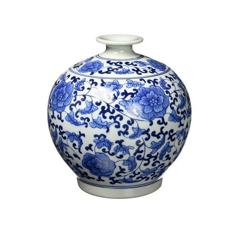Classic Ming Era Blue and White Porcelain Floral Globe Vase