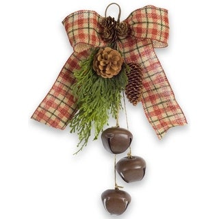 """Club Pack of 12 Pine with Brown and Green Plaid Ribbon/Bell Clusters 13"""""""