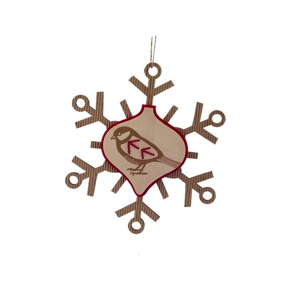 "7"" Country Cabin Rustic Embroidered Craft Snowflake with Bird Stamp Christmas Ornament - brown"