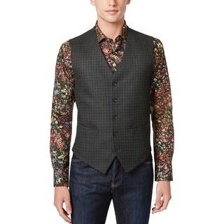 Tallia Orange Slim Fit Wool Check Vest Green 42 Regular 42R Waistcoat
