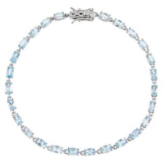 Oval-Cut Aquamarine Gemstone Tennis Bracelet, Sterling Silver