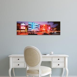 Easy Art Prints Panoramic Images's 'Buildings Lit Up At Night, South Beach, Miami Beach, Florida, USA' Canvas Art