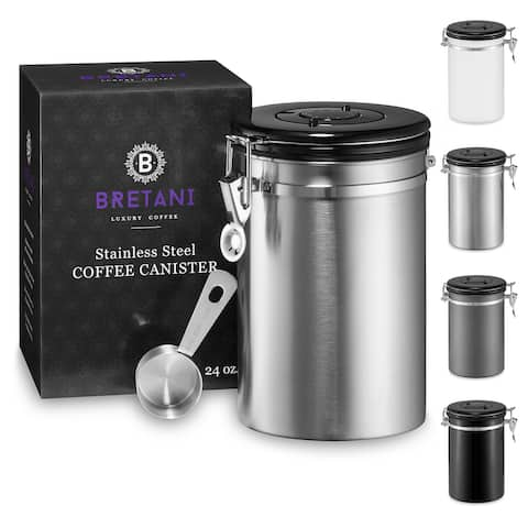 Steel Coffee Canister & Scoop Set (24oz.) by Bretani